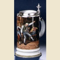 Коллекционная немецкая кружка с оловянной крышкой и изображением танцев в пабе
