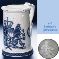 Кружка необычной формы (кувшин Гауди) с изображением герба 1794 года в синем цвете